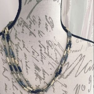 Pewter Colored Necklace Blue